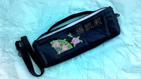 black flute case cover with embroidery